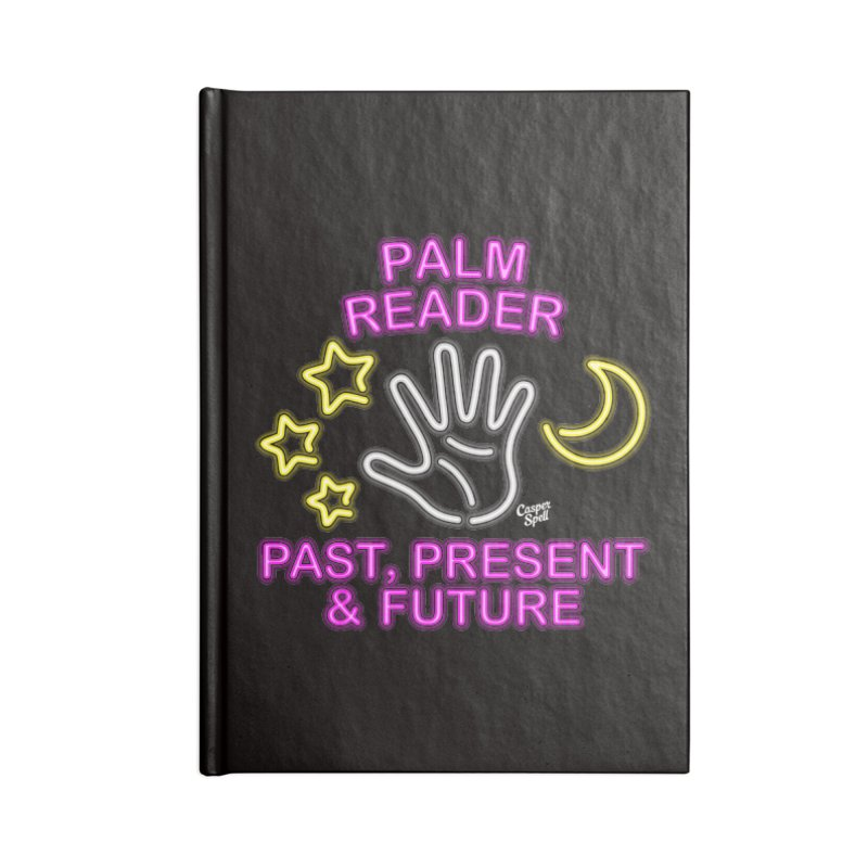 Neon Psychic Fortune Palm Reader Accessories Lined Journal Notebook by Casper Spell's Shop