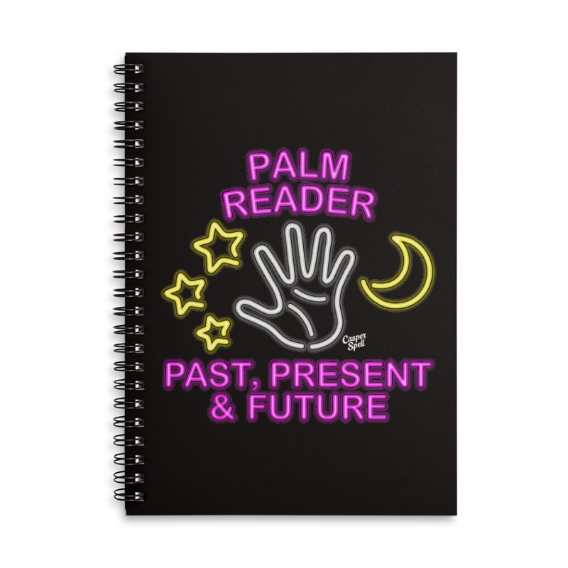 Neon Psychic Fortune Palm Reader Accessories Lined Spiral Notebook by Casper Spell's Shop