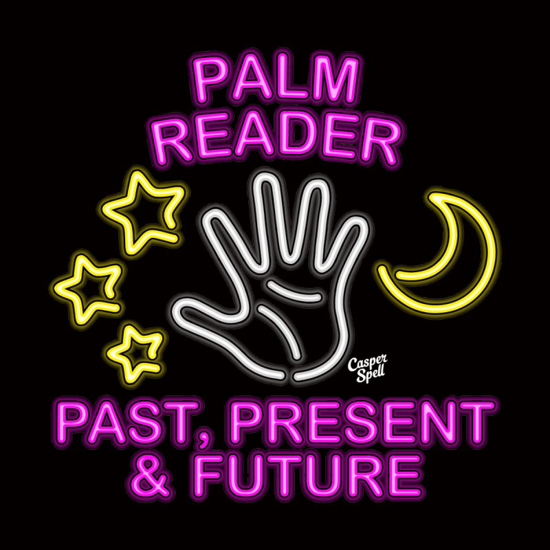 Neon Psychic Fortune Palm Reader Home Throw Pillow by Casper Spell's Shop