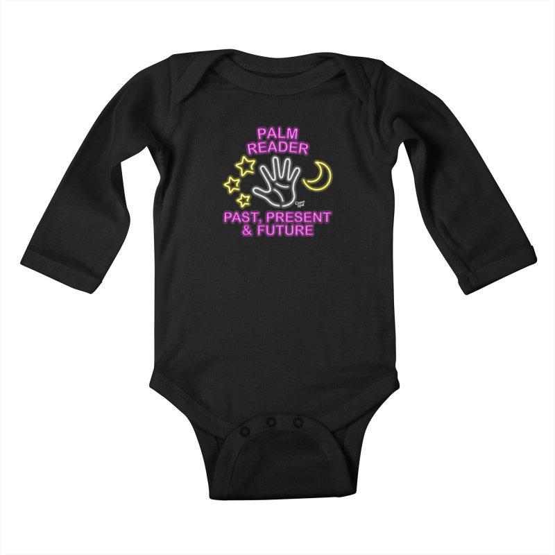 Neon Psychic Fortune Palm Reader Kids Baby Longsleeve Bodysuit by Casper Spell's Shop