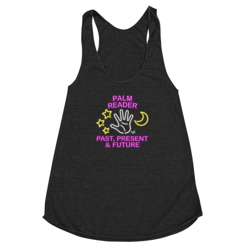 Neon Psychic Fortune Palm Reader Women's Racerback Triblend Tank by Casper Spell's Shop