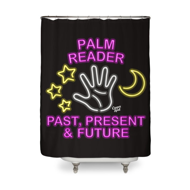 Neon Psychic Fortune Palm Reader Home Shower Curtain by Casper Spell's Shop