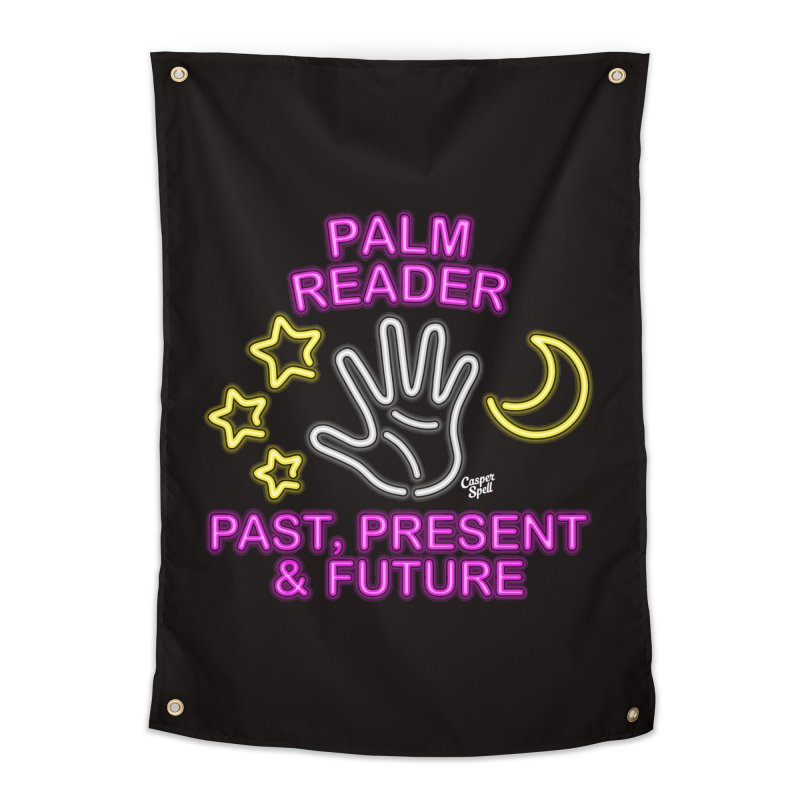 Neon Psychic Fortune Palm Reader Home Tapestry by Casper Spell's Shop