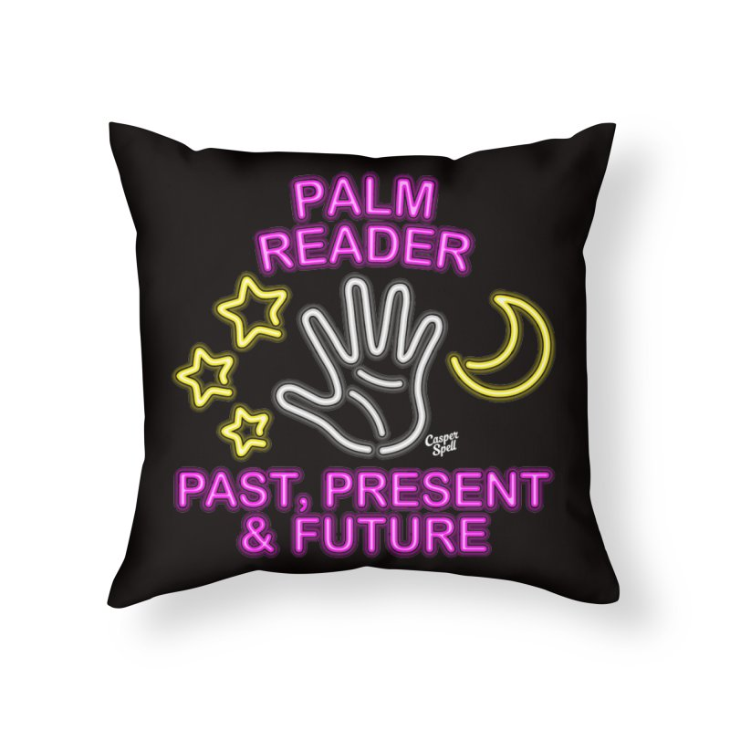 Neon Psychic Fortune Palm Reader in Throw Pillow by Casper Spell's Shop