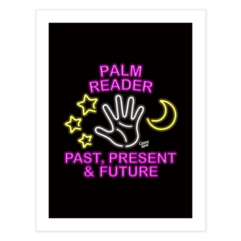 Neon Psychic Fortune Palm Reader Home Fine Art Print by Casper Spell's Shop