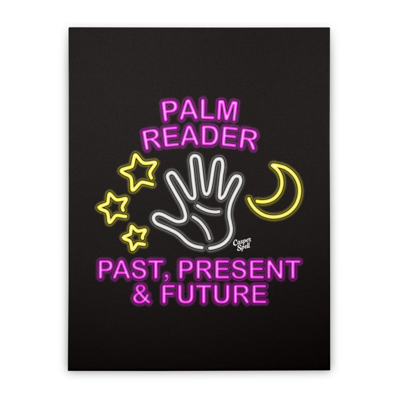 Neon Psychic Fortune Palm Reader Home Stretched Canvas by Casper Spell's Shop