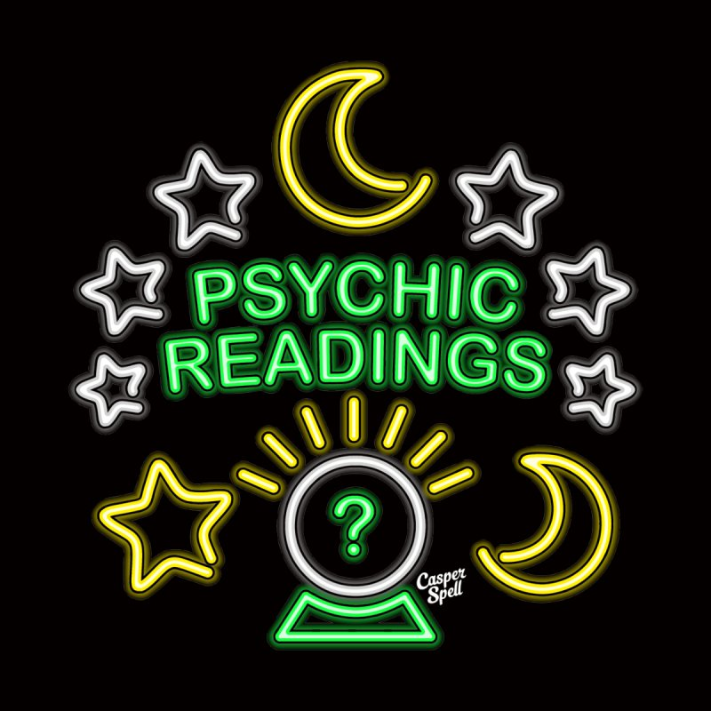 Neon Sign Psychic Reader Readings Women's Fitted T-Shirt by Casper Spell's Shop