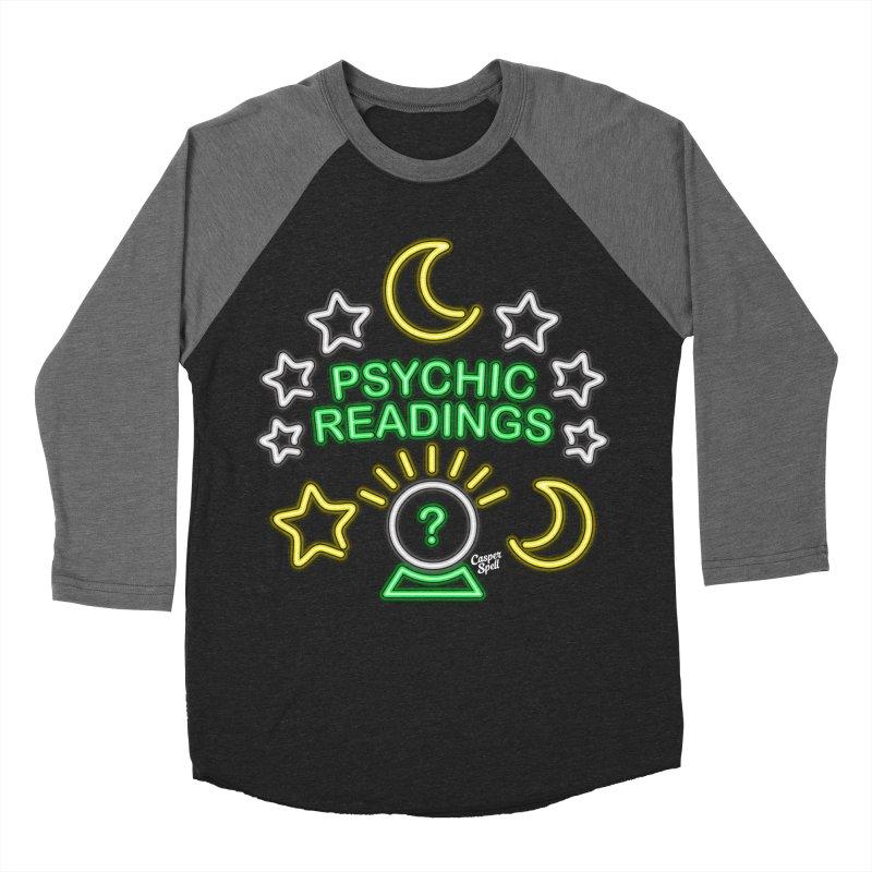 Neon Sign Psychic Reader Readings Men's Baseball Triblend T-Shirt by Casper Spell's Shop