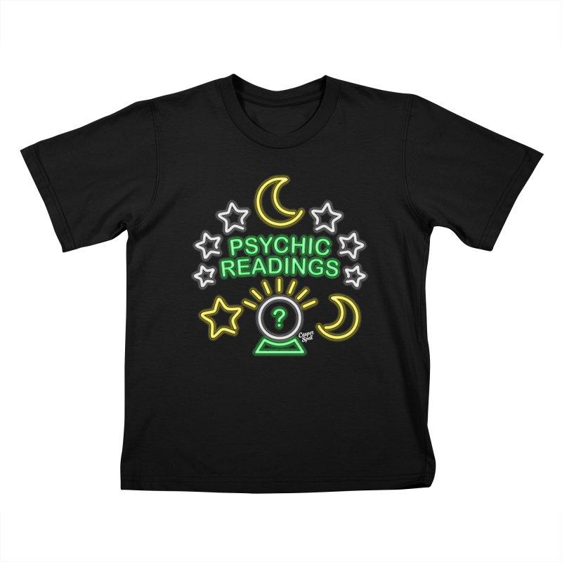 Neon Sign Psychic Reader Readings Kids T-Shirt by Casper Spell's Shop