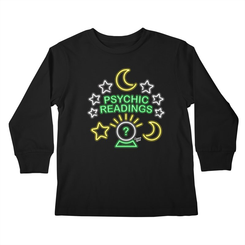 Neon Sign Psychic Reader Readings Kids Longsleeve T-Shirt by Casper Spell's Shop