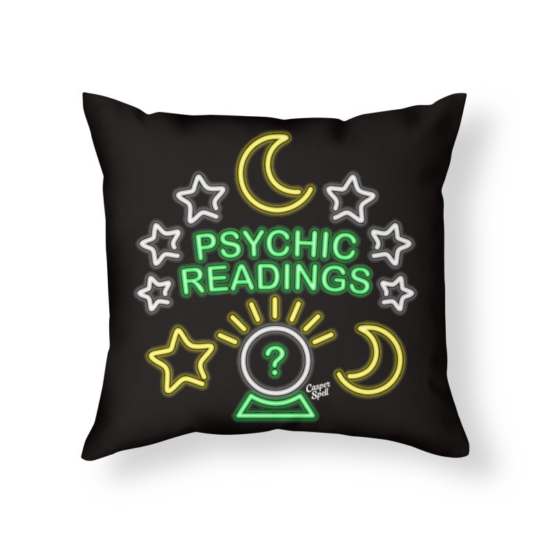 Neon Sign Psychic Reader Readings Home Throw Pillow by Casper Spell's Shop