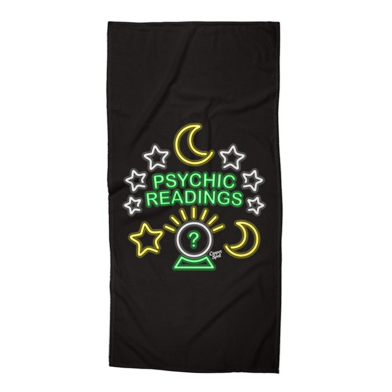 Neon Sign Psychic Reader Readings Accessories Beach Towel by Casper Spell's Shop