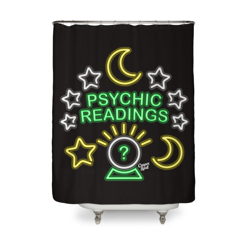 Neon Sign Psychic Reader Readings Home Shower Curtain by Casper Spell's Shop