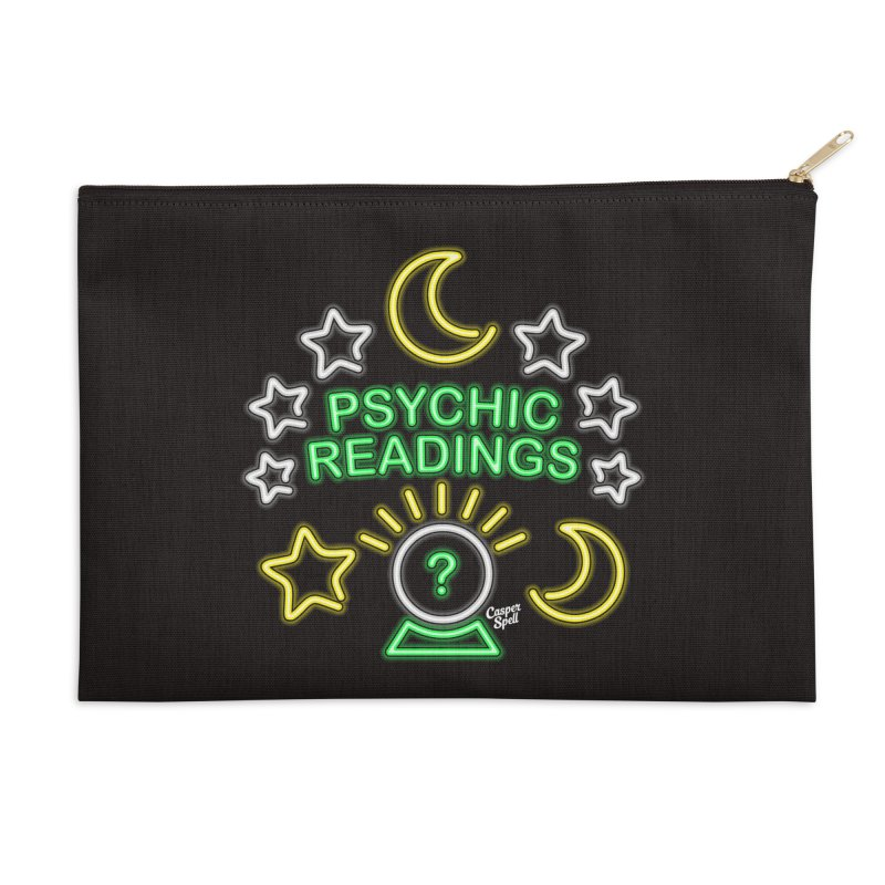 Neon Sign Psychic Reader Readings Accessories Zip Pouch by Casper Spell's Shop
