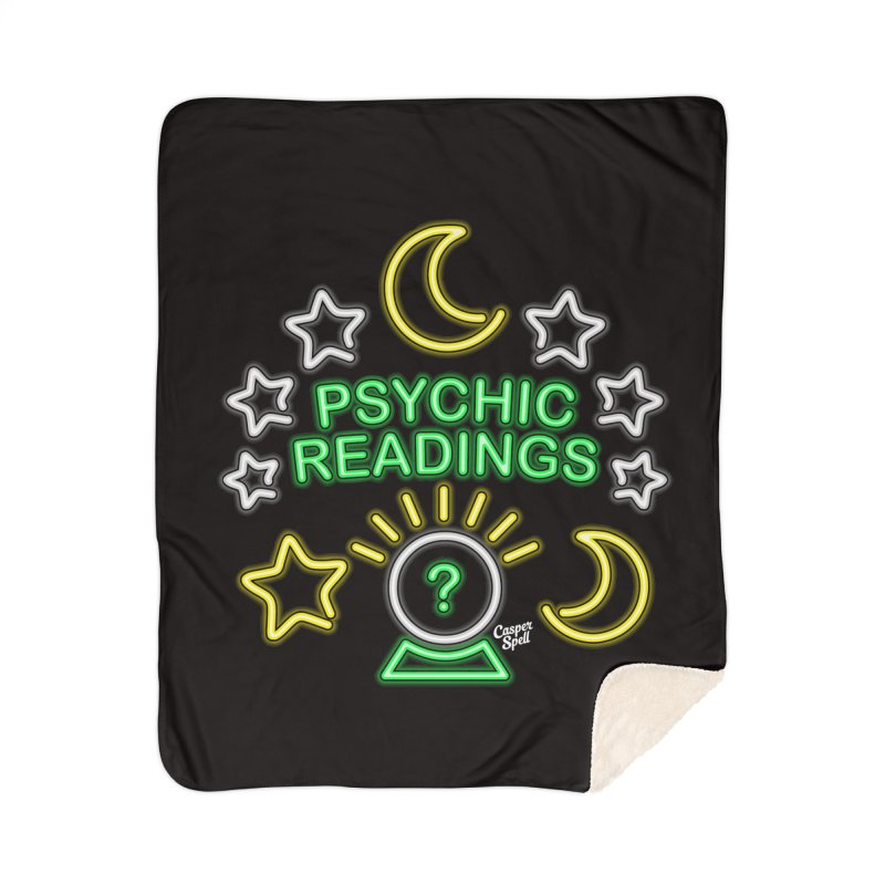 Neon Sign Psychic Reader Readings Home Sherpa Blanket Blanket by Casper Spell's Shop