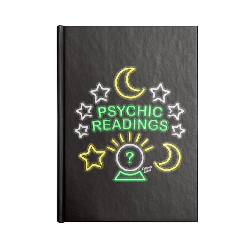 Neon Sign Psychic Reader Readings Accessories Lined Journal Notebook by Casper Spell's Shop