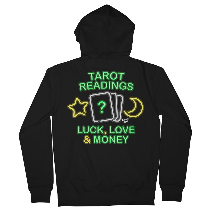 Neon Sign Psychic Tarot Readings  Men's Zip-Up Hoody by Casper Spell's Shop