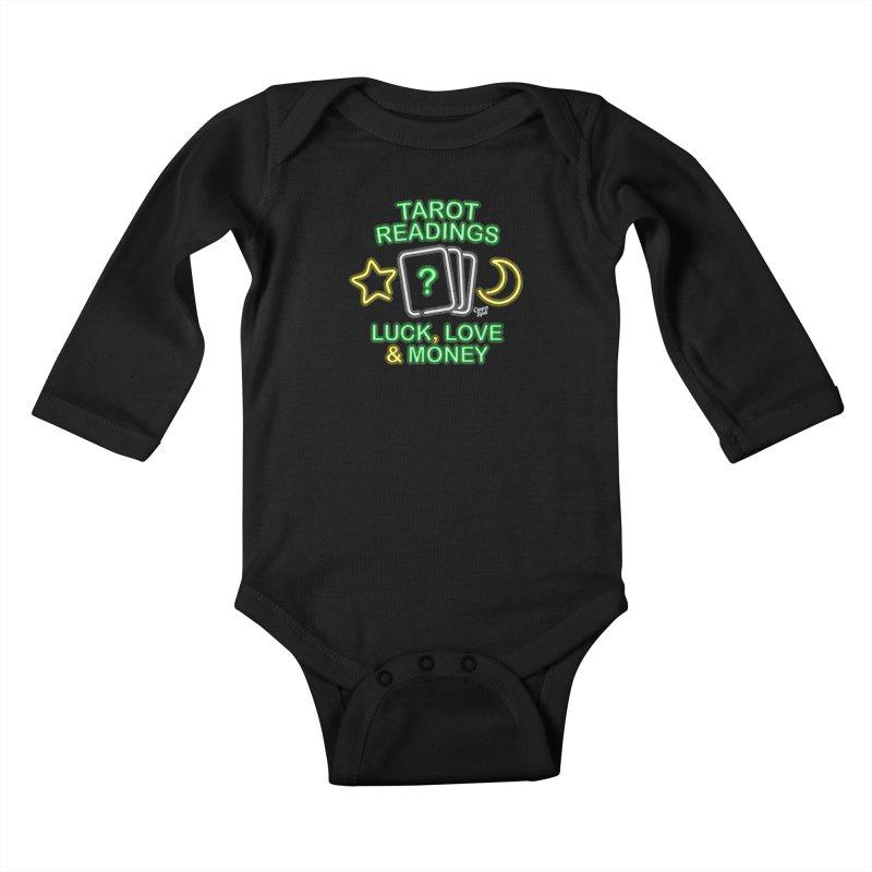 Neon Sign Psychic Tarot Readings  Kids Baby Longsleeve Bodysuit by Casper Spell's Shop