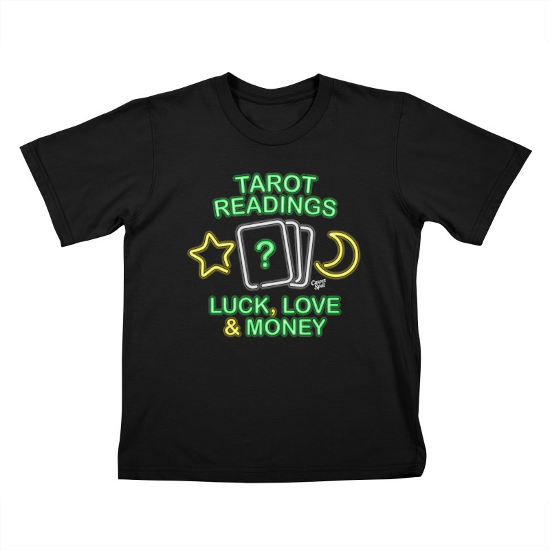 Neon Sign Psychic Tarot Readings  Kids T-Shirt by Casper Spell's Shop