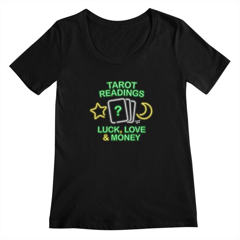 Neon Sign Psychic Tarot Readings  Women's Scoopneck by Casper Spell's Shop