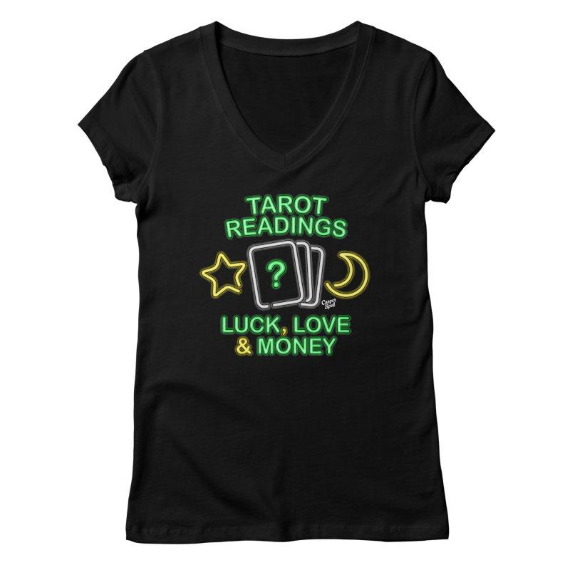 Neon Sign Psychic Tarot Readings  Women's V-Neck by Casper Spell's Shop