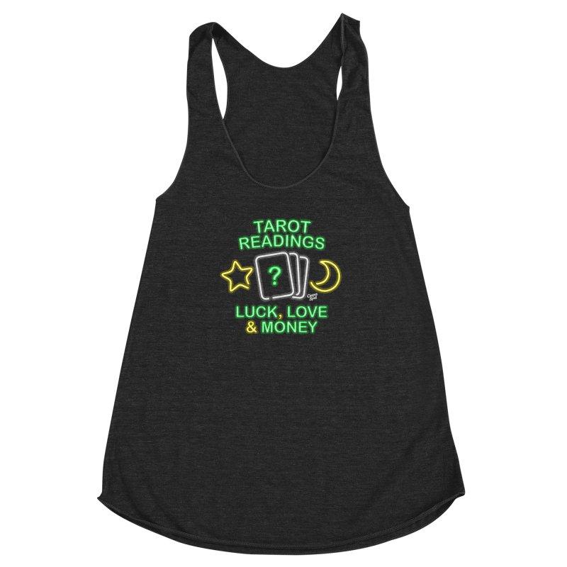 Neon Sign Psychic Tarot Readings  Women's Racerback Triblend Tank by Casper Spell's Shop