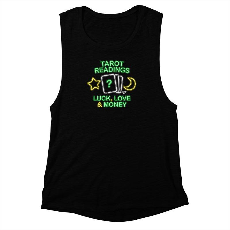 Neon Sign Psychic Tarot Readings  Women's Muscle Tank by Casper Spell's Shop