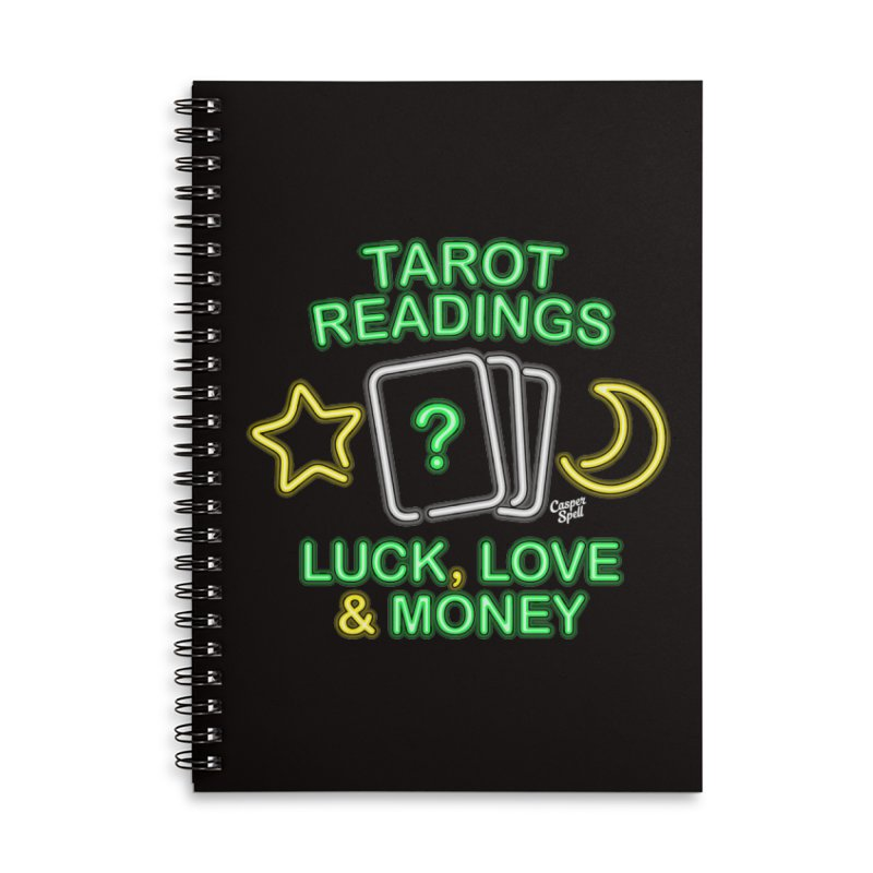 Neon Sign Psychic Tarot Readings  Accessories Lined Spiral Notebook by Casper Spell's Shop