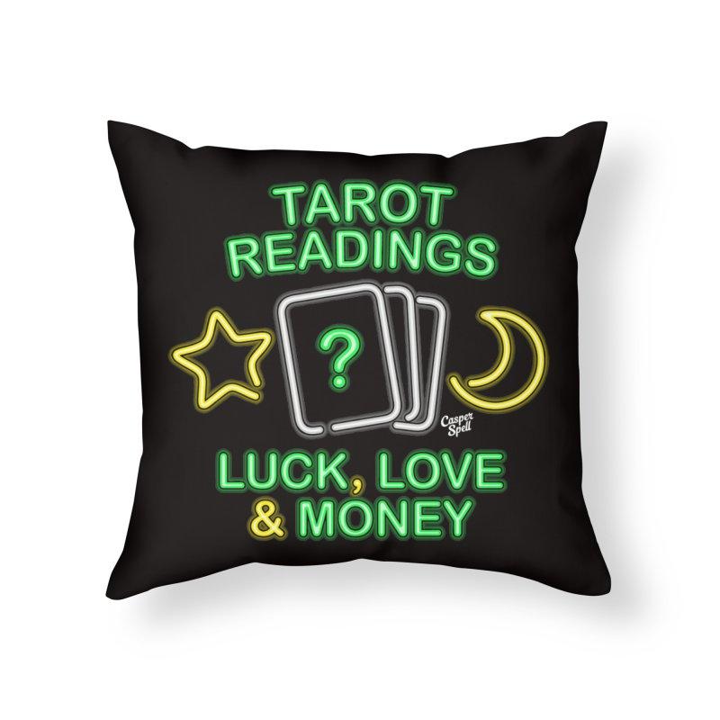 Neon Sign Psychic Tarot Readings  Home Throw Pillow by Casper Spell's Shop