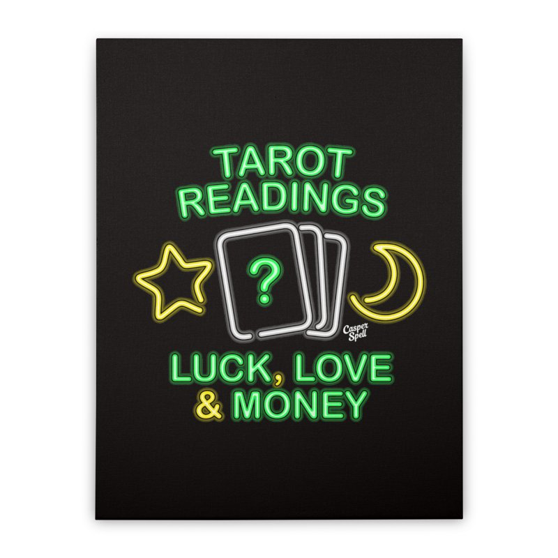 Neon Sign Psychic Tarot Readings  Home Stretched Canvas by Casper Spell's Shop