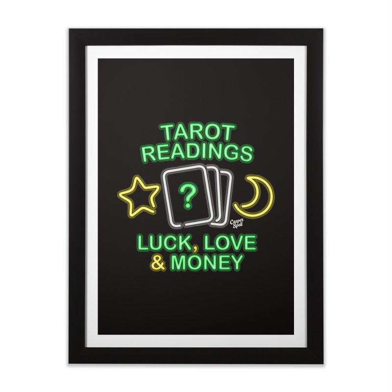 Neon Sign Psychic Tarot Readings  Home Framed Fine Art Print by Casper Spell's Shop