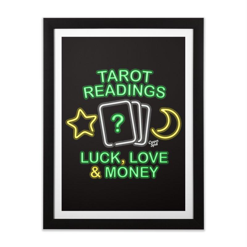 Neon Sign Psychic Tarot Readings  Home Framed Fine Art Print by Casper Spell's Shop