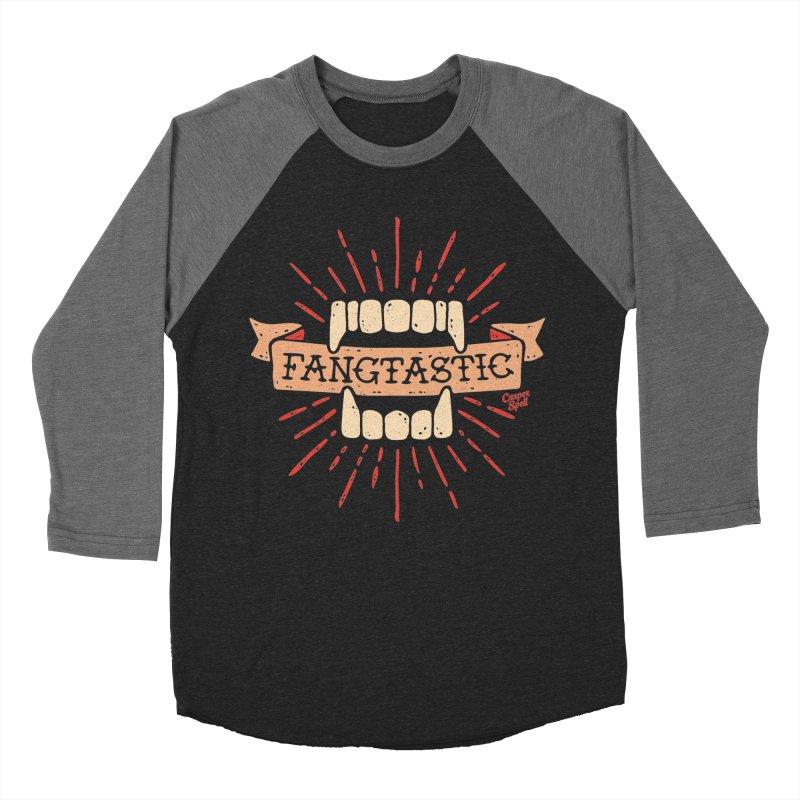 Vampire Fangs Fangtastic by Casper Spell Men's Baseball Triblend T-Shirt by Casper Spell's Shop