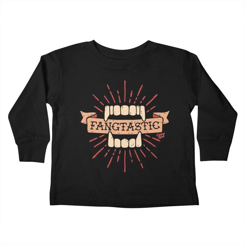 Vampire Fangs Fangtastic by Casper Spell Kids Toddler Longsleeve T-Shirt by Casper Spell's Shop
