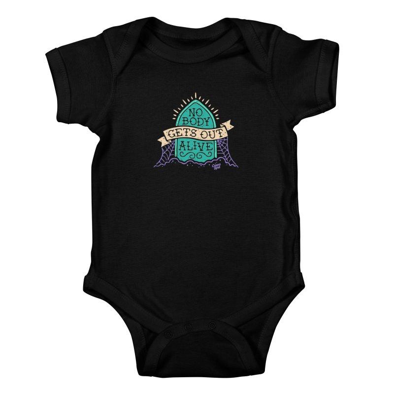 No Body Gets Out Alive by Casper Spell Kids Baby Bodysuit by Casper Spell's Shop