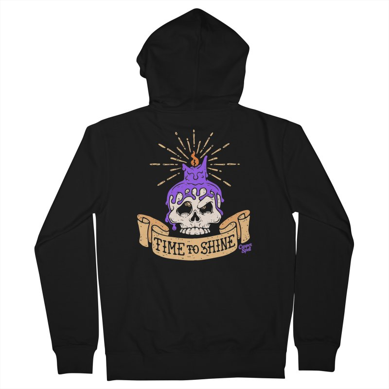 Time to Shine - Skull Candle Tattoo Men's Zip-Up Hoody by Casper Spell's Shop