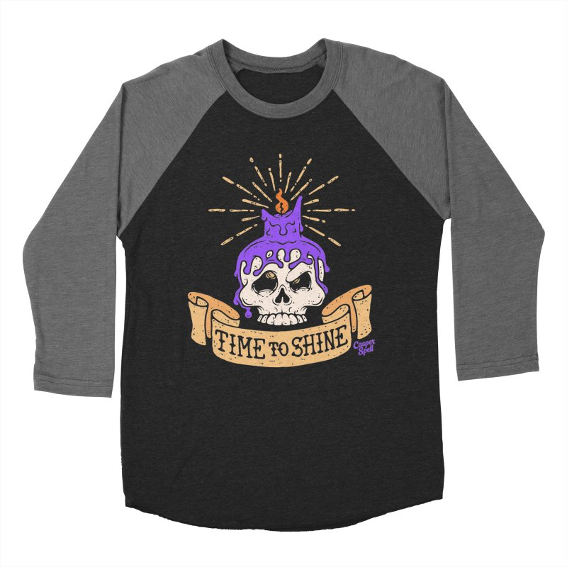 Time to Shine - Skull Candle Tattoo Men's Baseball Triblend T-Shirt by Casper Spell's Shop