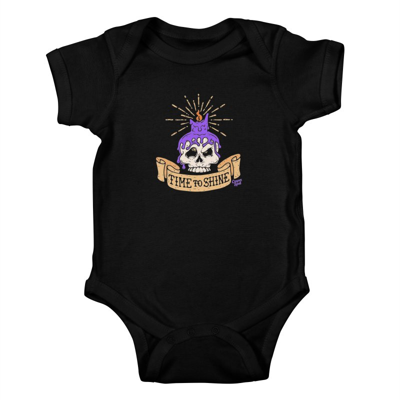 Time to Shine - Skull Candle Tattoo Kids Baby Bodysuit by Casper Spell's Shop