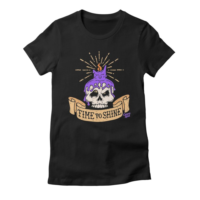Time to Shine - Skull Candle Tattoo Women's T-Shirt by Casper Spell's Shop