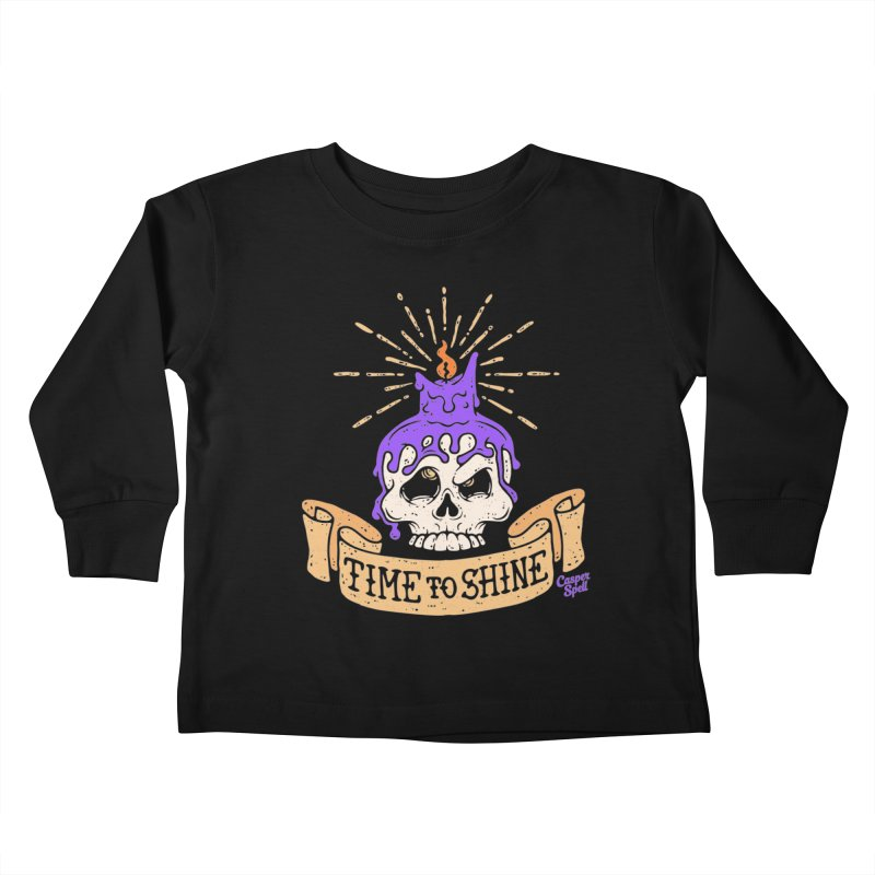 Time to Shine - Skull Candle Tattoo Kids Toddler Longsleeve T-Shirt by Casper Spell's Shop