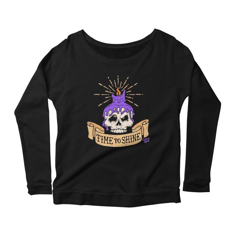 Time to Shine - Skull Candle Tattoo Women's Longsleeve Scoopneck  by Casper Spell's Shop