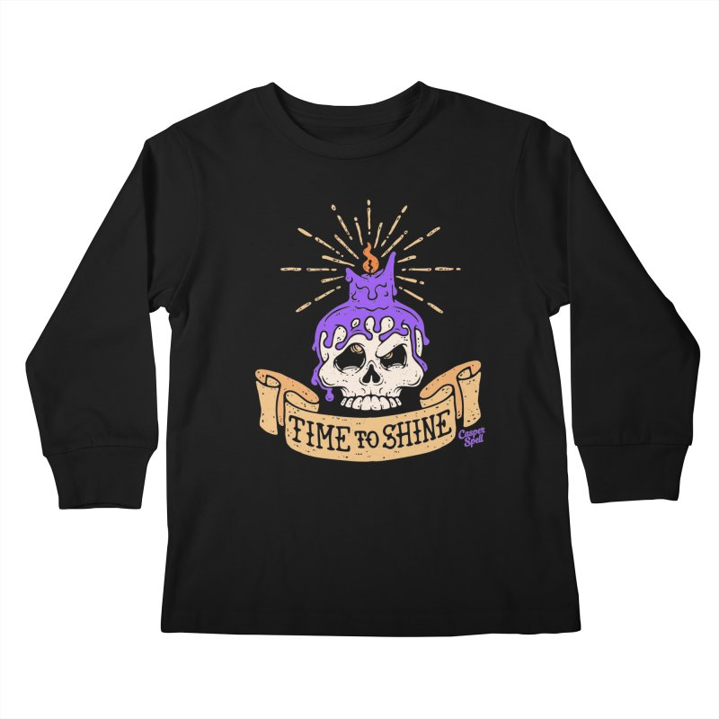 Time to Shine - Skull Candle Tattoo Kids Longsleeve T-Shirt by Casper Spell's Shop