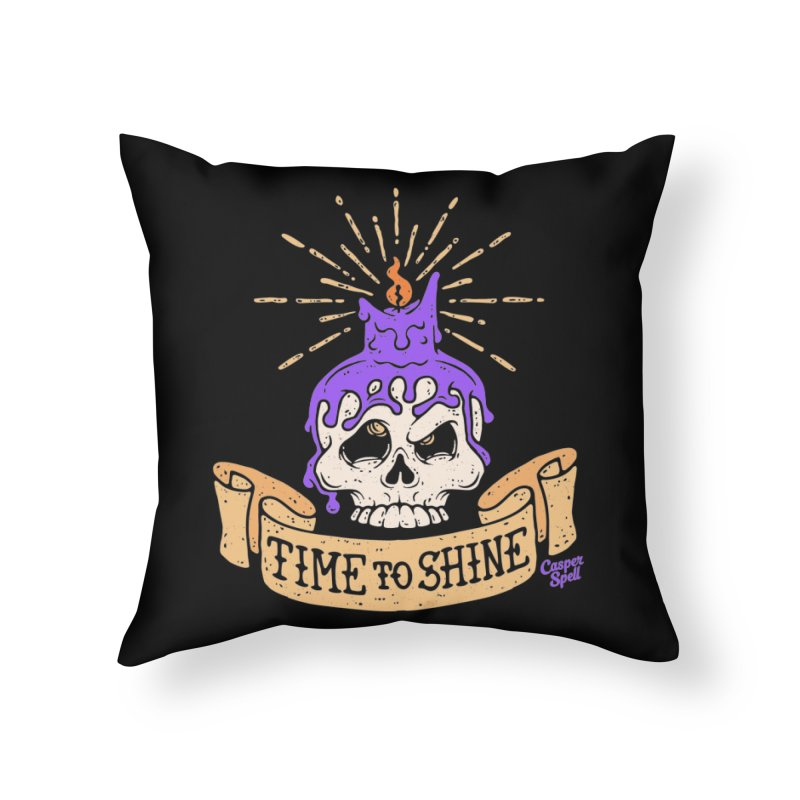 Time to Shine - Skull Candle Tattoo Home Throw Pillow by Casper Spell's Shop