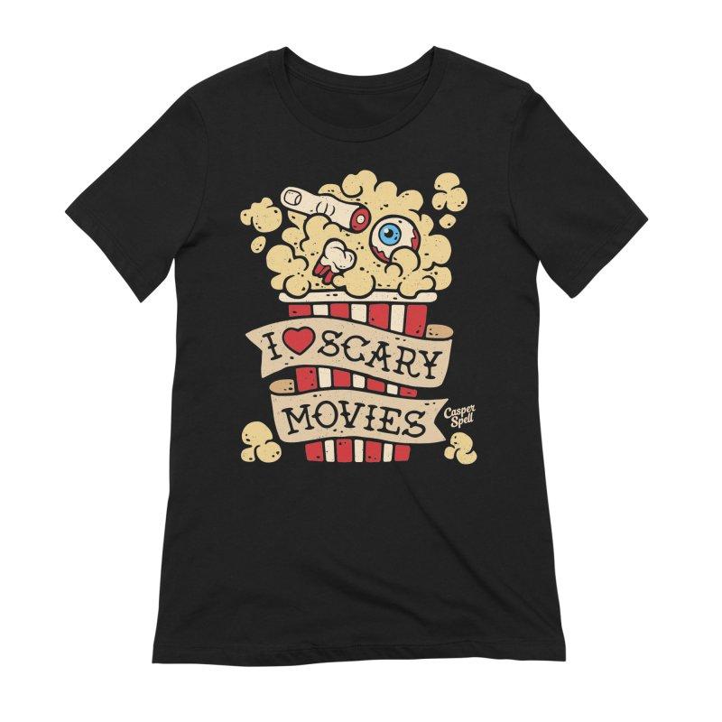 I Love Scary Movies by Casper Spell Women's French Terry Zip-Up Hoody by Casper Spell's Shop