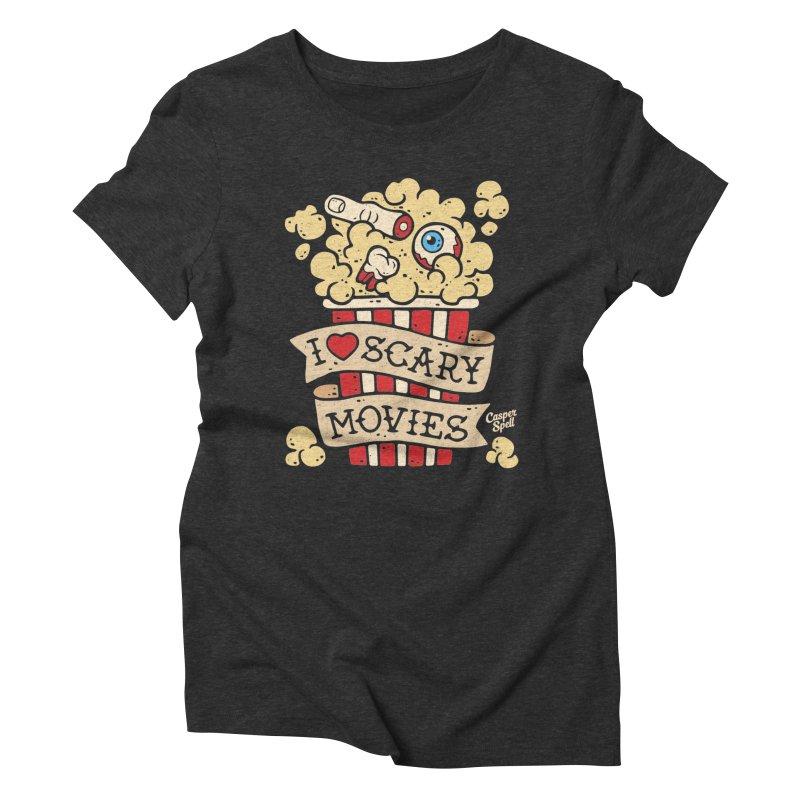 I Love Scary Movies by Casper Spell Women's Triblend T-shirt by Casper Spell's Shop
