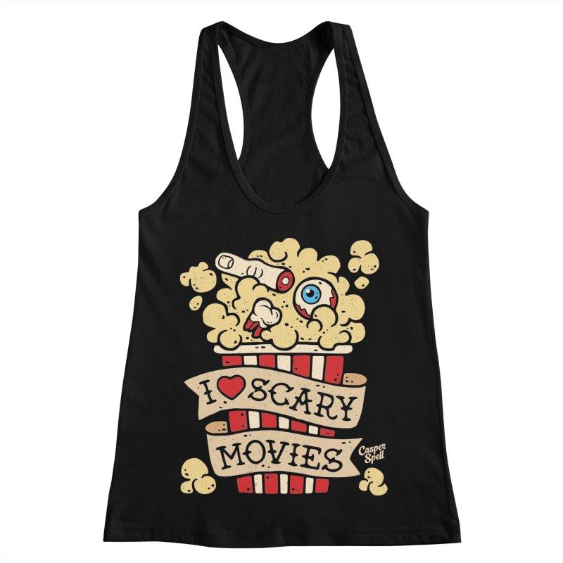 I Love Scary Movies by Casper Spell Women's Racerback Tank by Casper Spell's Shop