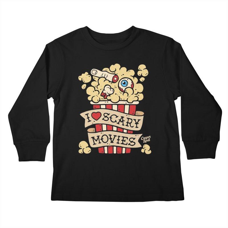 I Love Scary Movies by Casper Spell Kids Longsleeve T-Shirt by Casper Spell's Shop