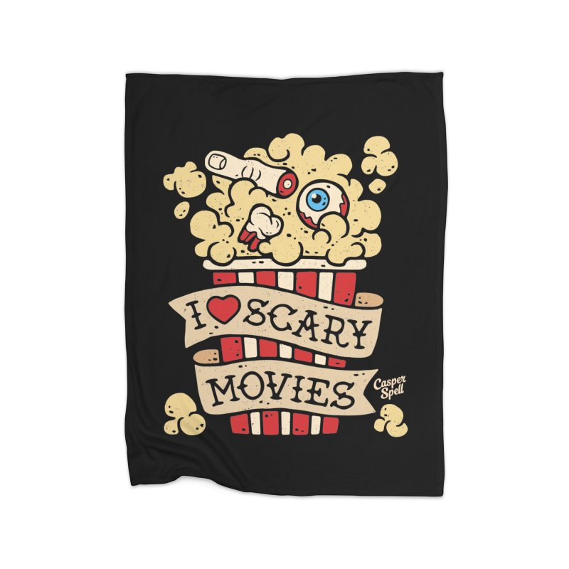 I Love Scary Movies by Casper Spell Home Blanket by Casper Spell's Shop