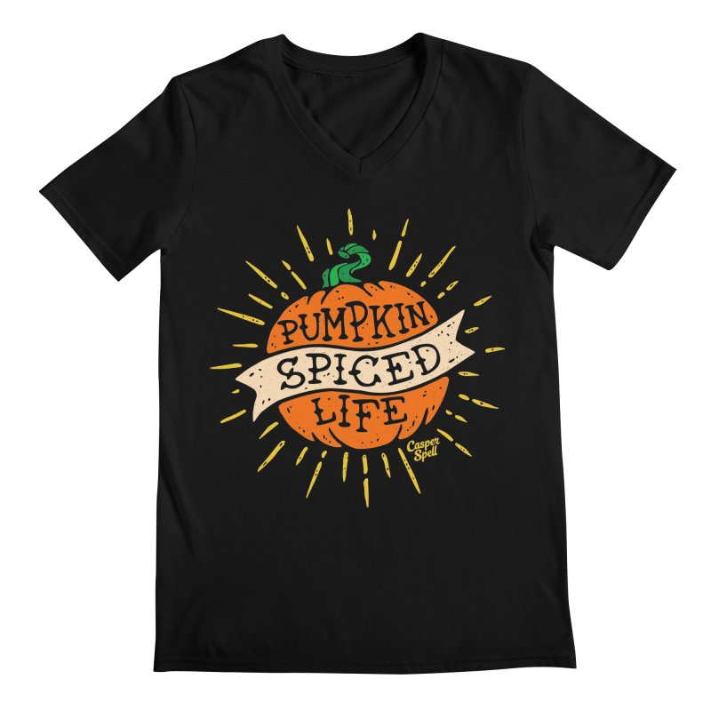 Pumpkin Spiced Life by Casper Spell Men's Regular V-Neck by Casper Spell's Shop
