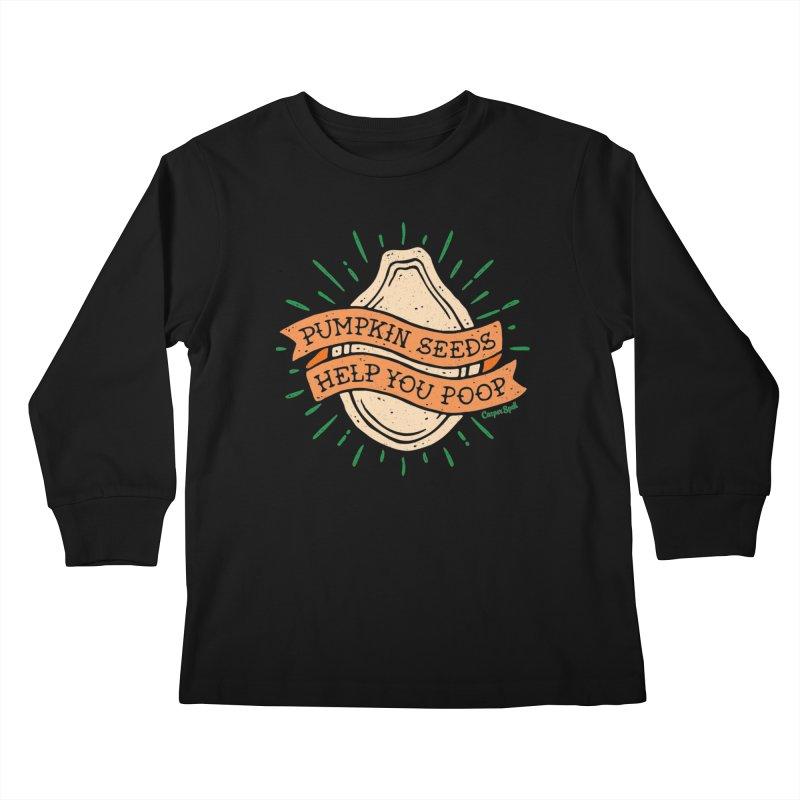 Pumpkin Seeds Help You Poop Kids Longsleeve T-Shirt by Casper Spell's Shop